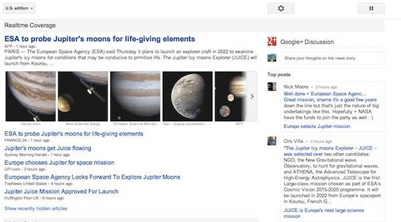 Google News updated with enhanced Google+ integration, real-time coverage