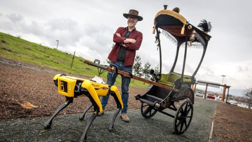 Adam Savage turned Spot the robodog into a creepy rickshaw driver