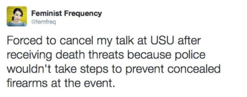 Anita Sarkeesian speech canceled following threats, safety concerns