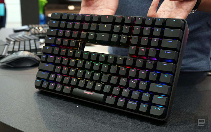 This double-height keyboard puts a numpad above the letters