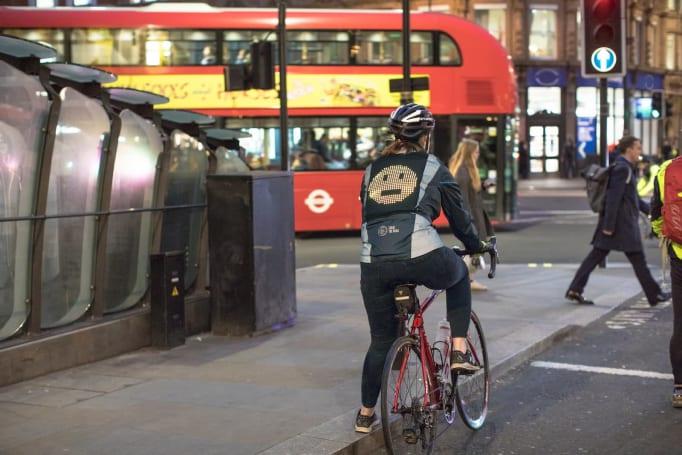 Ford's biking jacket shows emoji to everyone behind you
