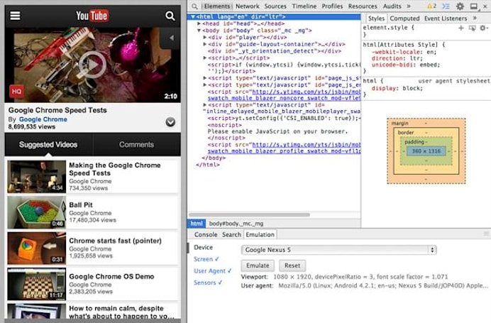 Chrome DevTools now lets you see how websites behave on mobile devices (video)