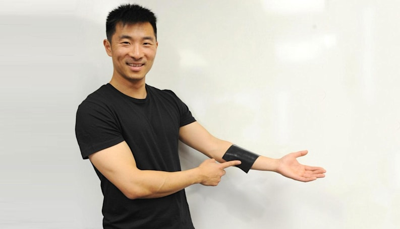 Stretchable square of rubber doubles as a keyboard