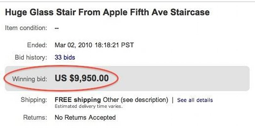 The saga of the Apple stair comes to a $9950 end