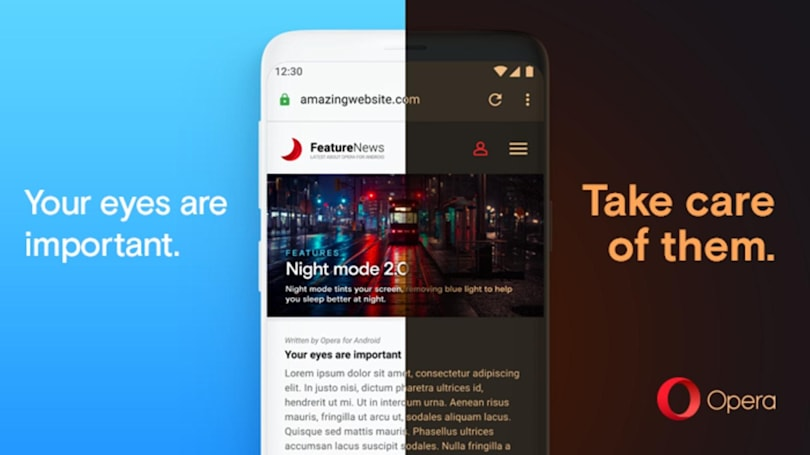 Opera's latest version gives any web page a dark mode