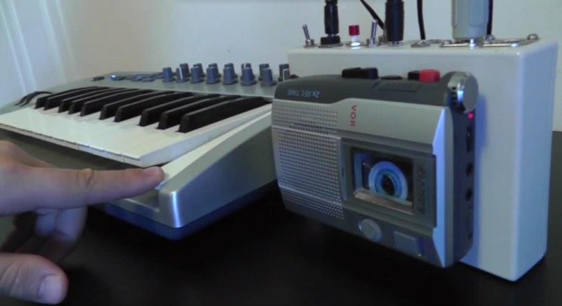 Weird noises emerge from a Frankenstein cassette-tape keyboard