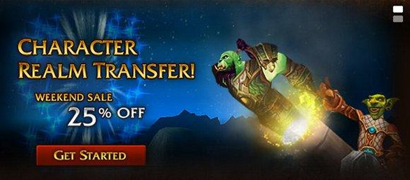 25 percent off character transfers this weekend