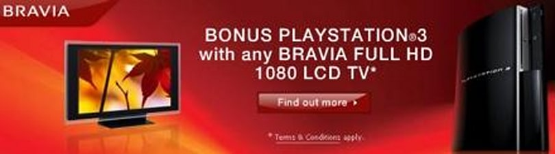 Buy a 1080p BRAVIA and Sony Australia will toss in a PS3 for free