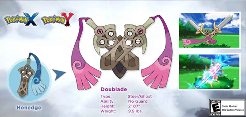 Pokemon X/Y's Honedge already gets an evolved form in Doublade