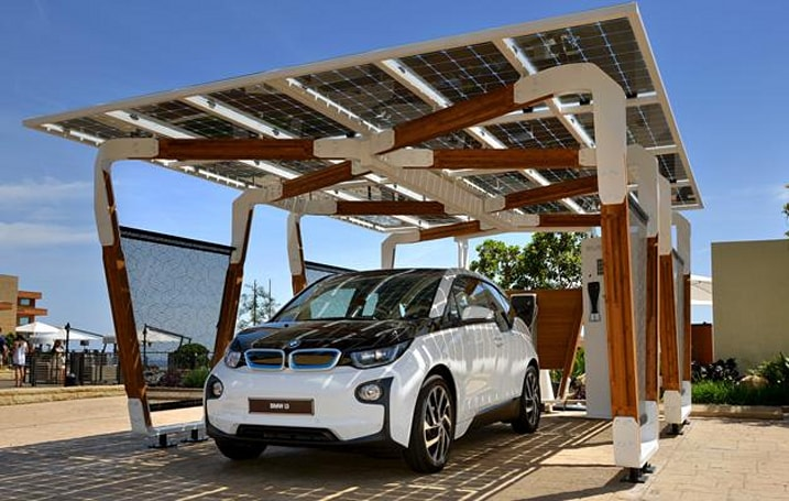 BMW's designed an eco-friendly carport for its electric vehicles