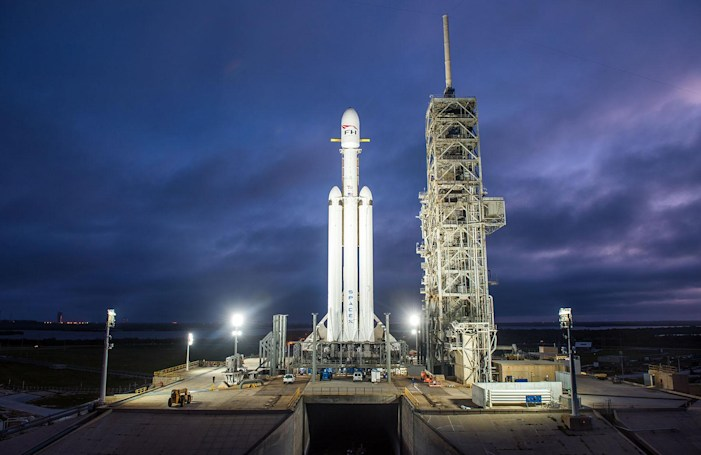 SpaceX shows a video flyby of its Falcon Heavy rocket