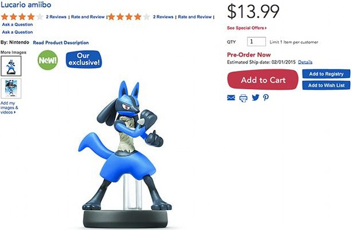 Toys R Us: Lucario amiibo pre-orders not being canceled