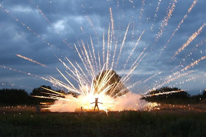 The Big Picture: Inflated steel suit gets you up close and personal with fireworks