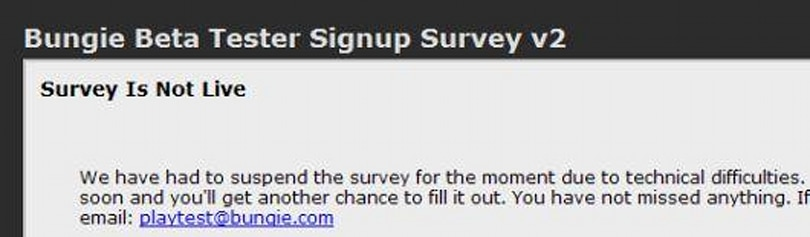 Bungie posts, pulls signup survey for secret beta
