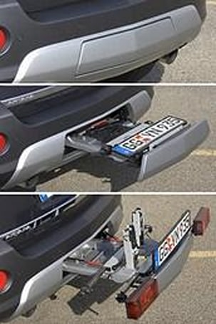 General Motor's integrated, retractable Flex-Fit bike rack