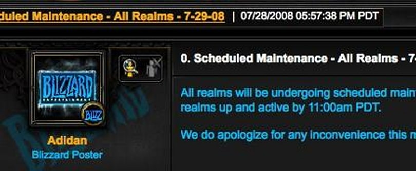 Extended maintenance for Tuesday, July 29th