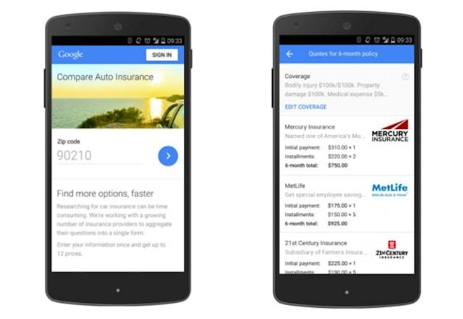 Google helps you compare car insurance in the US