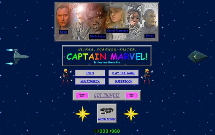 The 'Captain Marvel' site revisits classic 90s web design
