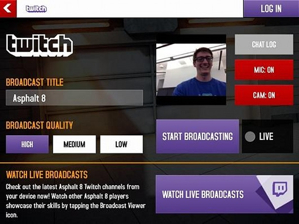 First Twitch broadcasting iOS game is Gameloft racer Asphalt 8
