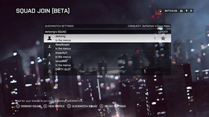 Battlefield 4 console update lets players squad up with friends