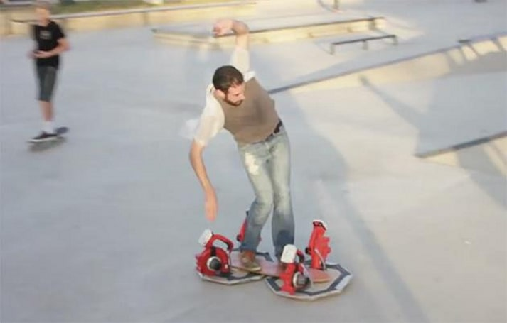 This DIY hoverboard combines ingenuity and four leaf blowers