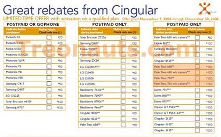 Cingular's latest rebate form hints at holiday releases