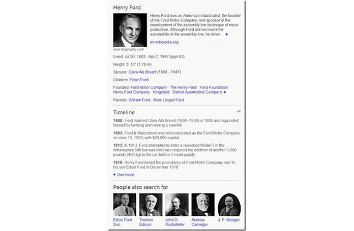 Bing search results now show key events in famous people's lives