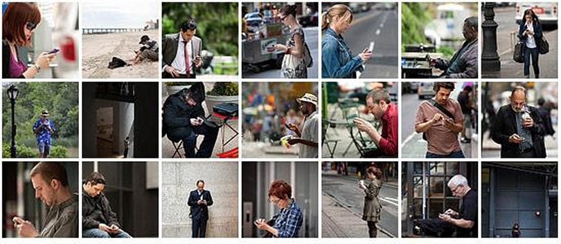 Joseph Holmes photographs punctilious texters in NYC, encourages you to have a peek