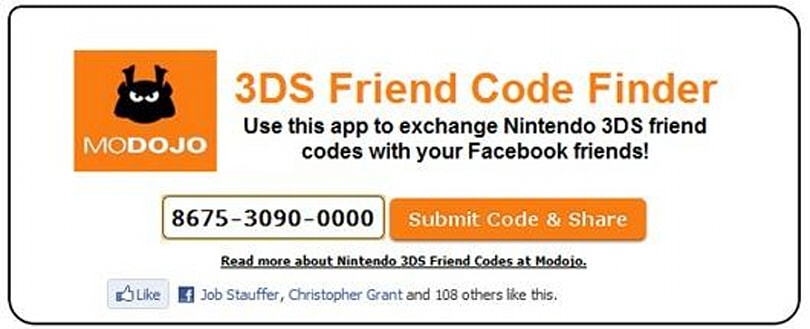 Modojo launches 3DS Friend Code Finder app