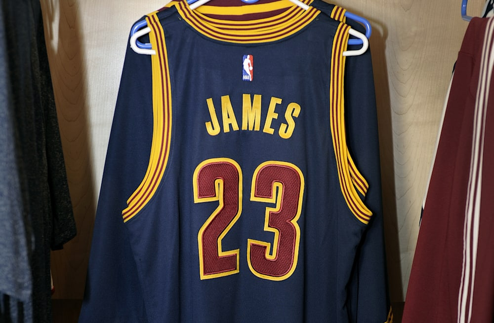 45636bb663c Slideshow preview image. 19 PHOTOS. LeBron James Cavaliers jersey auction.  See Gallery. Aol.com. LeBron's first Cavaliers jersey of 2014 up ...