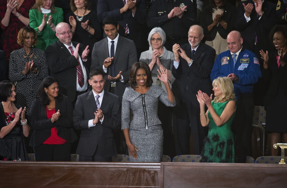8d9c70e494 Michelle Obama wore a suit for the first time to the SOTU - AOL ...
