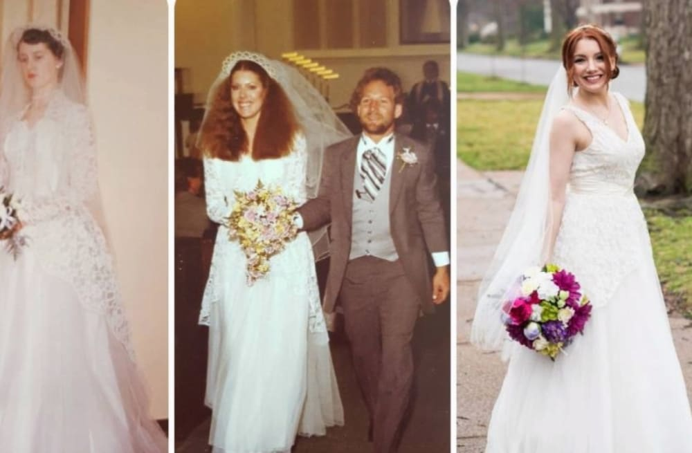 Daughter walks down the aisle in wedding dress worn by her ...