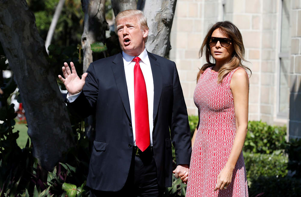 ccf7b0a47e16 Melania Trump looks absolutely radiant in patterned sundress for ...