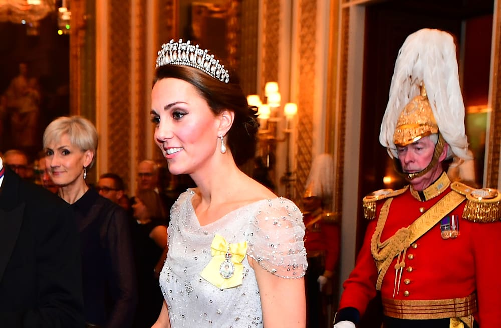 7ec857d19b1c5 Duchess Kate is a total vision in sequin Jenny Packham gown and ...