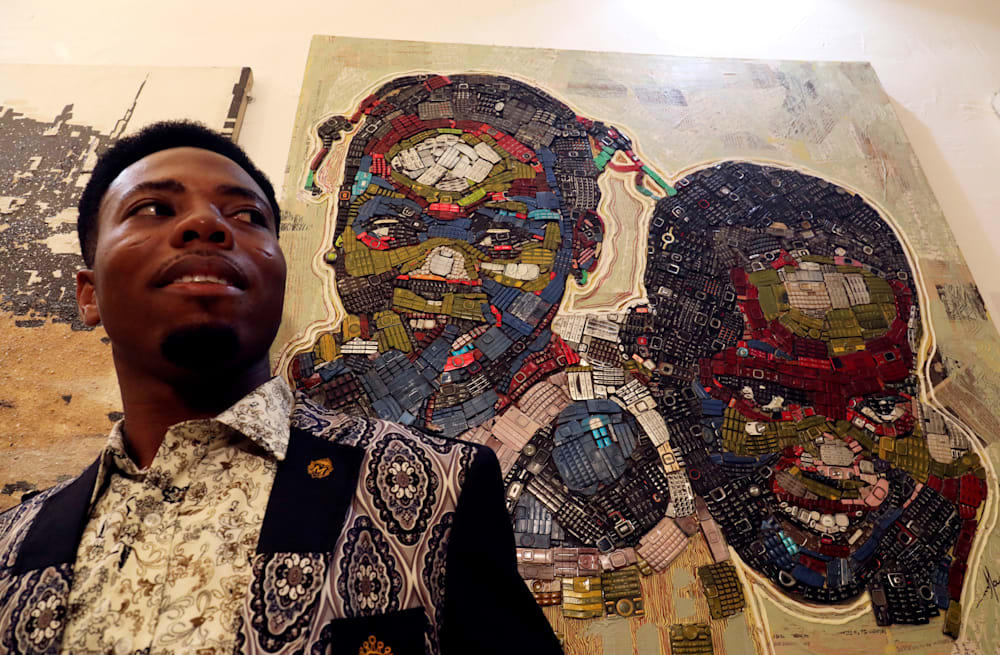 Image result for Ivory Coast painter gives new life to e-waste