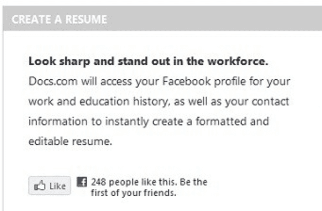 create a resume in 6 seconds with facebook and docscom aol finance