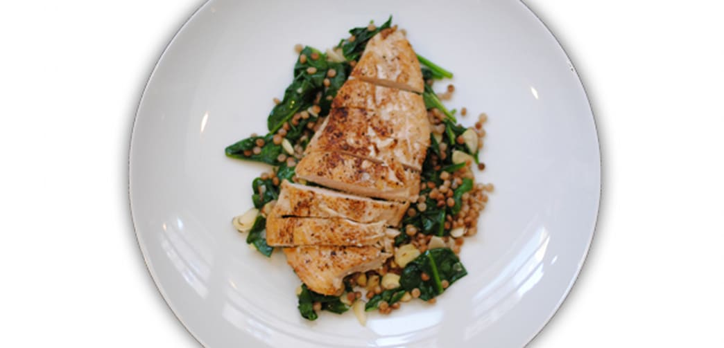 Indian spiced chicken with israeli couscous aol food this simple chicken dish is anything but boring a garam masala rub gives chicken a warm and robust flavor hearty israeli couscous and wilted spinach are forumfinder Images