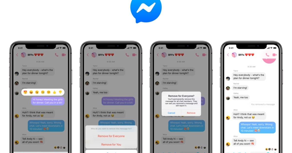Facebook finally lets you unsend messages in Messenger