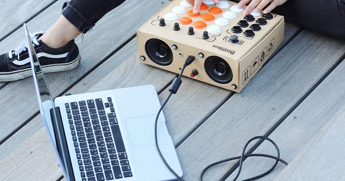 build your own cheap drum machine from cardboard and arcade buttons. Black Bedroom Furniture Sets. Home Design Ideas