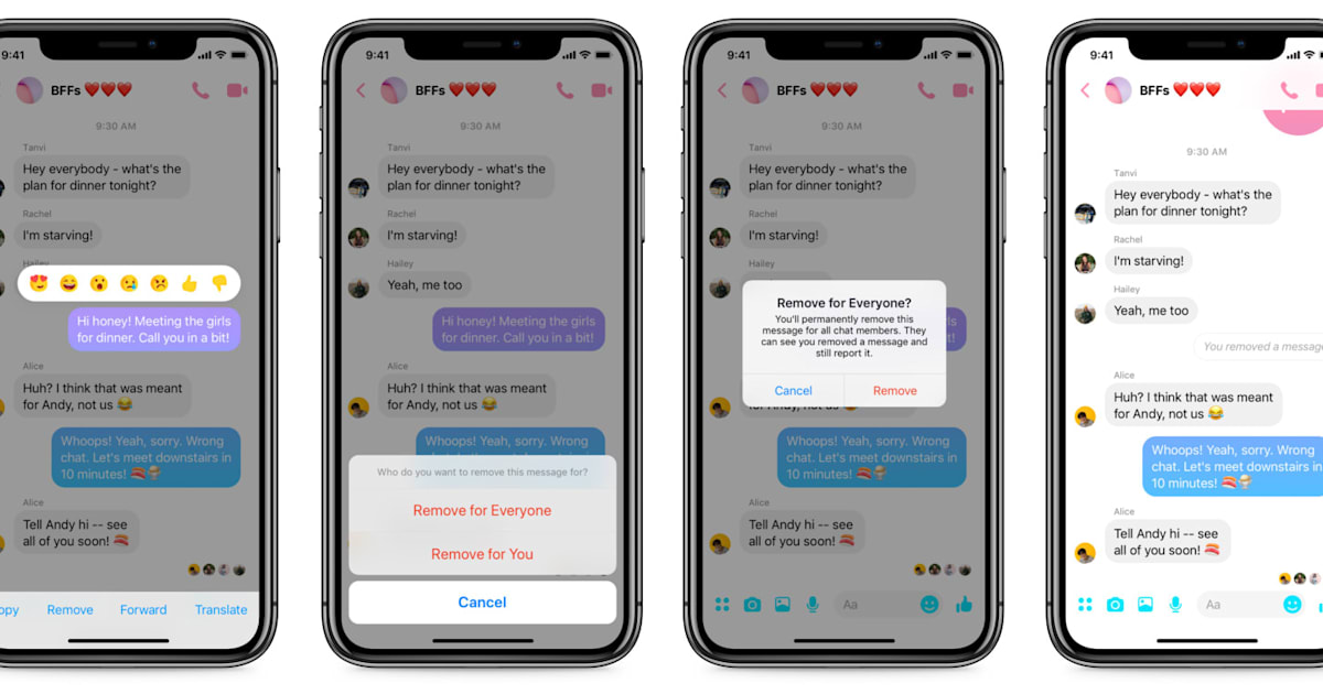 Facebook Starts Rolling Out Messenger's 'Unsend' Feature