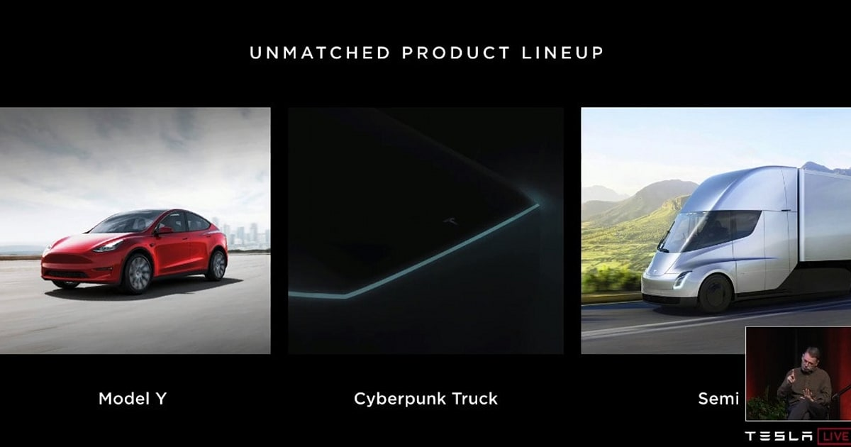 Elon Musk talks up Tesla's 'Cyberpunk truck,' and 400-mile range EVs