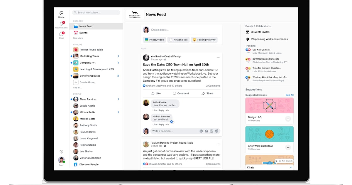 Facebook's Workplace redesign looks nothing like Slack