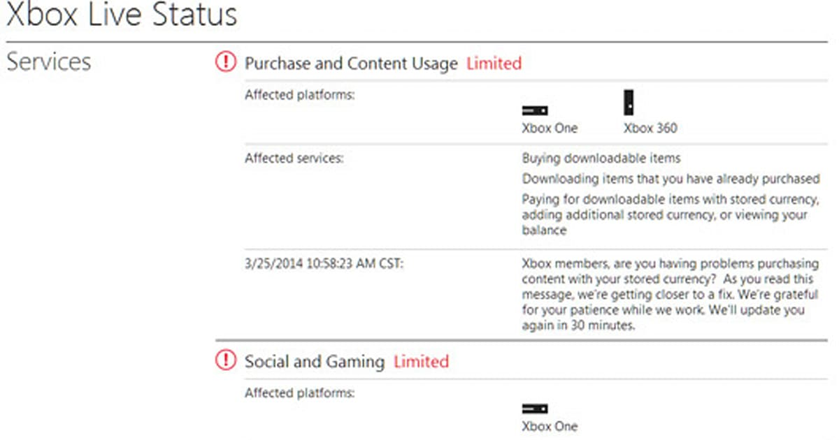 Xbox Live services currently 'limited' on Xbox One, Xbox 360