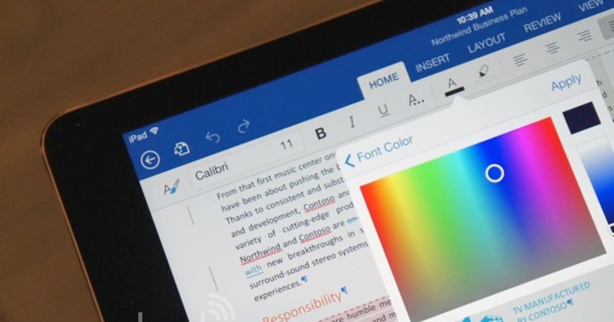Microsoft makes office for ipad free to use starts for Ipad o android