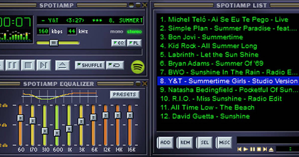 Relive Winamp's glory days with a retro Spotify music app