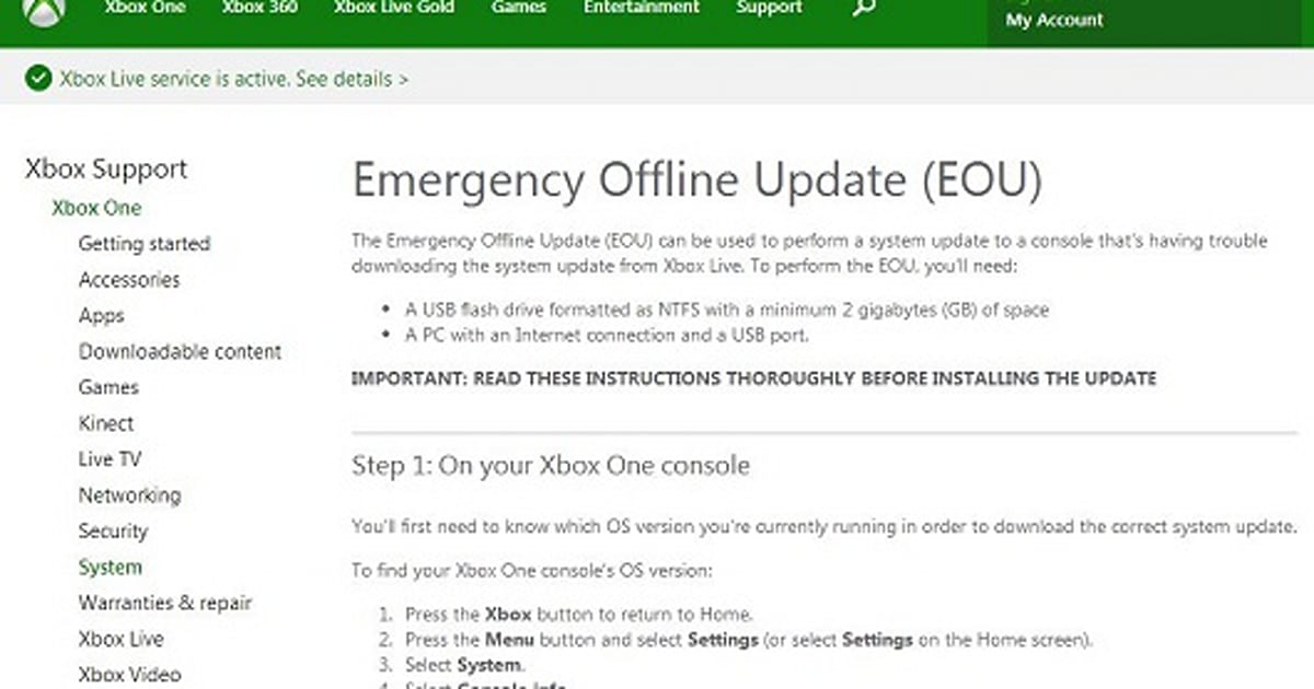 Microsoft Pulls Offline Usb Updating Instructions For Xbox One