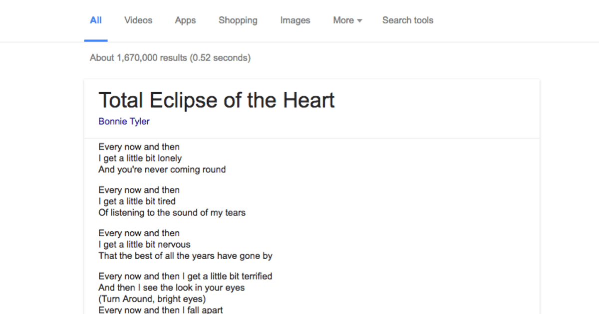 Lyric google lyrics search engine : Google adds song lyrics to search results