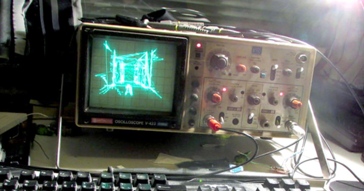 Old Oscilloscope Screen : Mesmerizing quake demake runs on a decades old oscilloscope