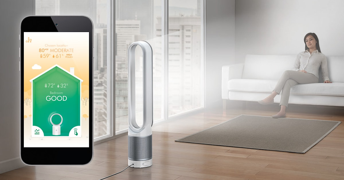 dyson 39 s latest air purifier measures your air quality. Black Bedroom Furniture Sets. Home Design Ideas