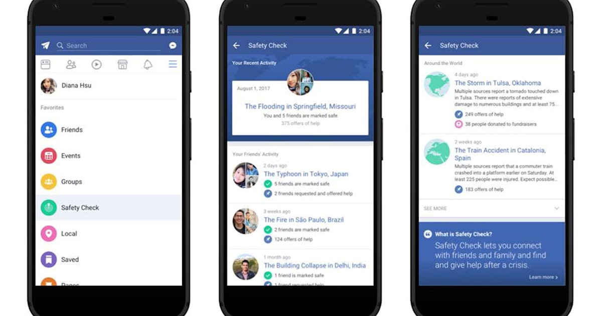 Facebook makes Safety Check a permanent feature